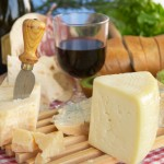 Gorgonzola-parmigiano-pecorino-cheese-with-wine-and-bread-typical-Italian-food-Piacenza-
