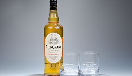 Glen-Grant-Whiskey-and-Engraved-Tumblers-2