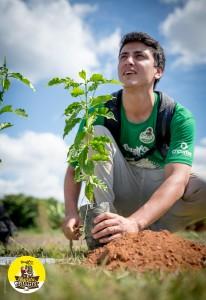 Il barista brasiliano Raphael con la sua pianta