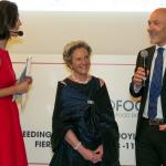 Da sinistra, la presentatrice Caterina Balivo, Giustina Li Gobbi Exhibition Director TUTTOFOOD, e l'AD di Fiera Milano Corrado Peraboni
